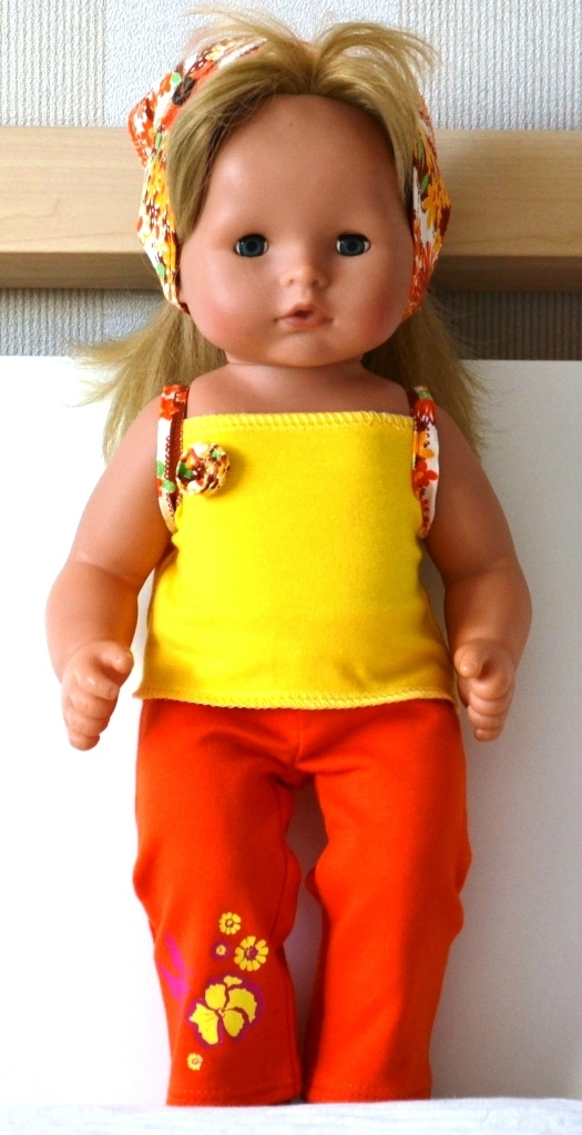 Оранжево-желтый комплект на Лиде, брюки и топ