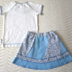 Голубая юбка и футболка с рюшами (Оттобре №6-2013, мод. 14), спинка