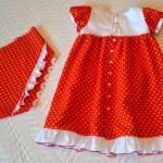 """Красное платье в горошек, спинка. Бурда """"Детская мода"""" 2012, мод. 649"""