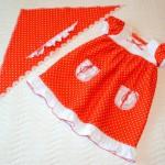 """Красное платье в горошек, перед. Бурда """"Детская мода"""" 2012, мод. 649"""