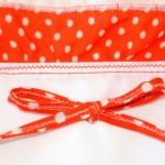 """Красное платье в горошек, отделка горловины. Бурда """"Детская мода"""" 2012, мод. 649"""