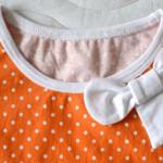 Оранжевая майка, отделка горловины. Оттобре №3-2013.