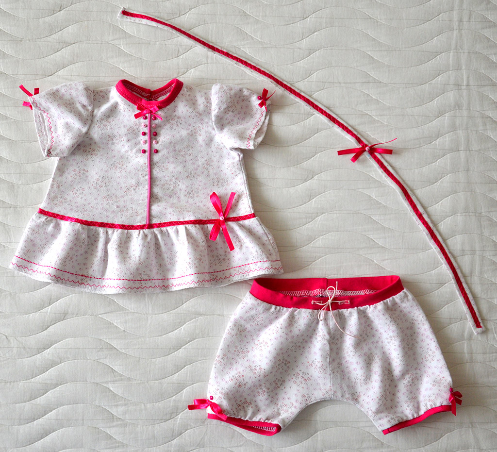 Пижамка для куклы Adora (Виолка). Окончательно дошитая, перед.