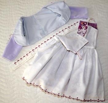 Сиреневый комплект: болеро (Оттобре №6-2011), сарафан (Бурда, спецвыпуск Детская мода 2013) и лента на голову