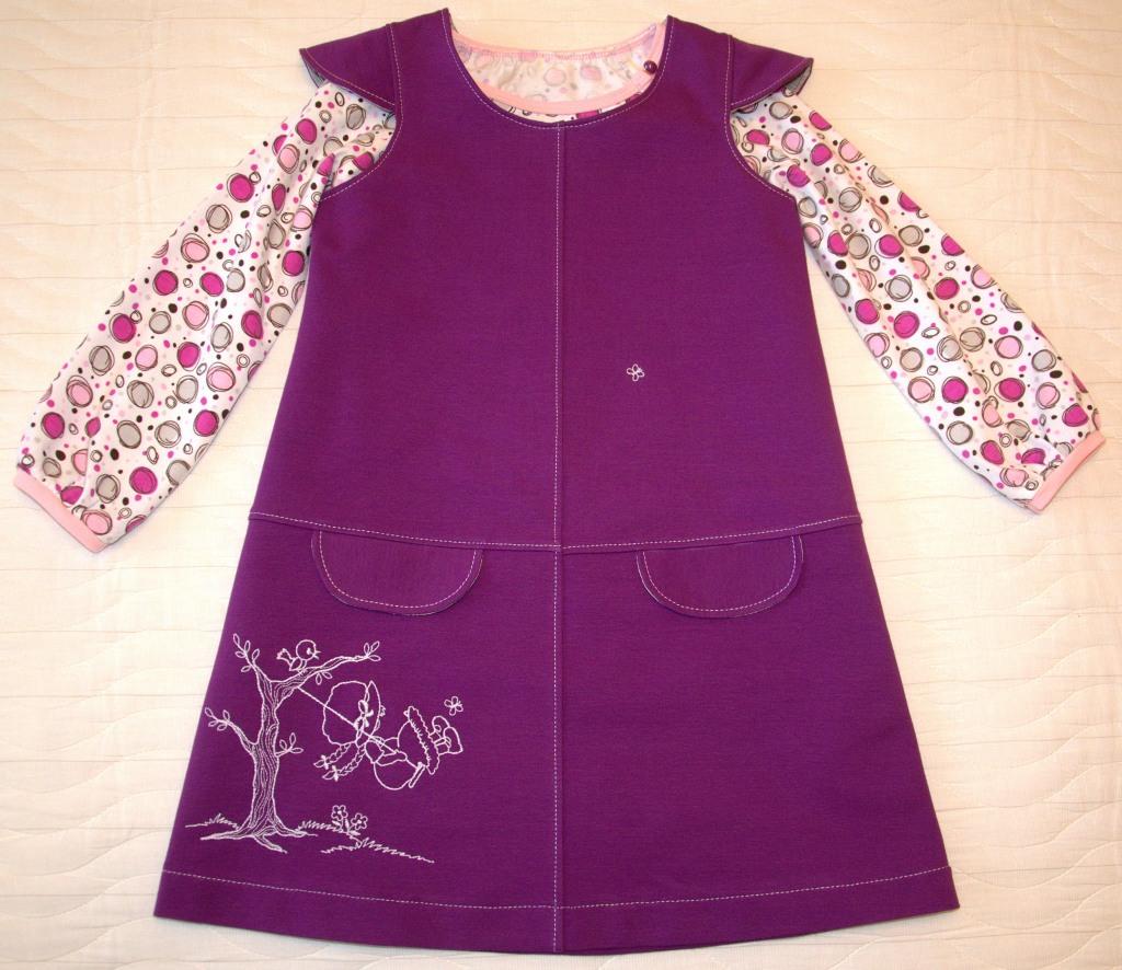 Сиреневый сарафан (Оттобре № 6-2013) и футболка (Оттобре № 4-2011)