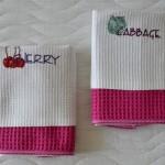 Кухонные полотенчики с вышивкой с цветной парой