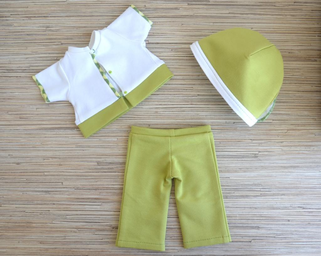 Трикотажный комплект для куклы Готс Аквини 36 см: брюки, футболка и шапочка