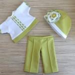 Комплект для куклы Готс Аквини 36 см: брюки, футболка и шапочка с цветком